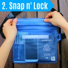 Woman locking the waterproof closures on the waterproof pouch with waist belt.