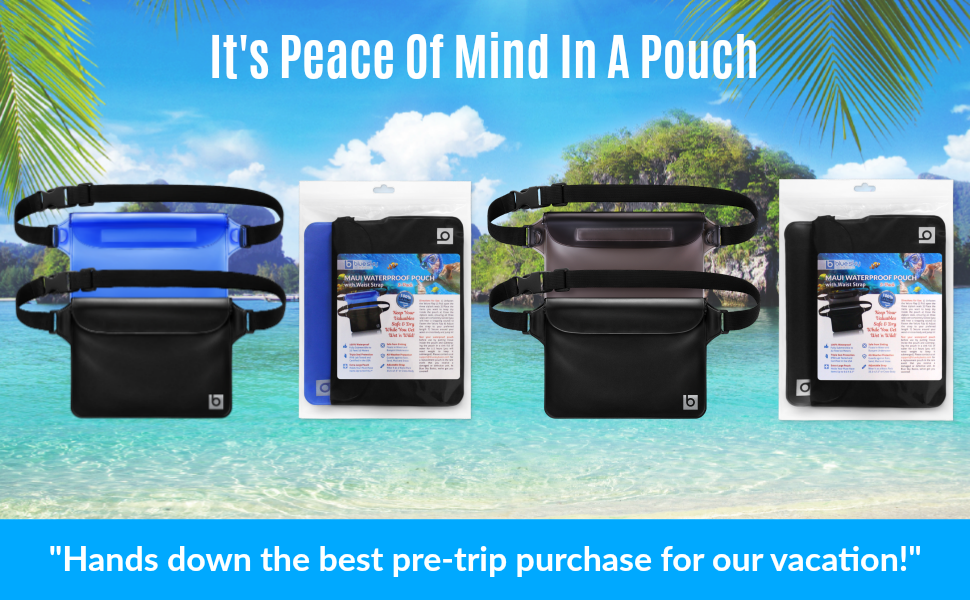 Blue and black waterproof pouch 2 pack and gray and black waterproof pouch 2 pack on a beach.
