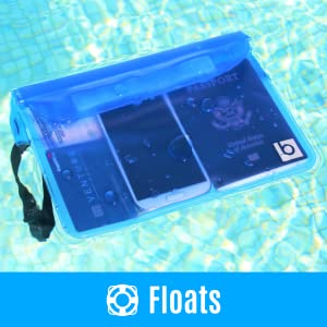 Waterproof pouch floating in water with phone, passport, money, and credit card inside.