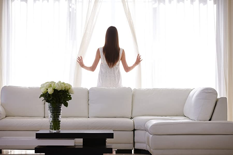 window curtains for living room. ME Sheer Window Curtain Panels are a stylish way to maintain privacy while  infusing any room with natural light Made of soft yet durable polyester fabric Amazon com HLC White 54 inch x 95