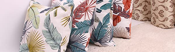 Throw Pillow Cover Leaf Pattern