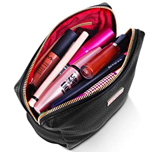 101dbf646476 Amazon.com   habe PETITE Makeup Bag - 7x6x3 - Vegan Leather Small ...