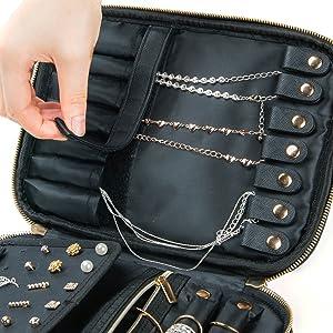 necklace organizer tangle free habe travel jewelry organizer case bag