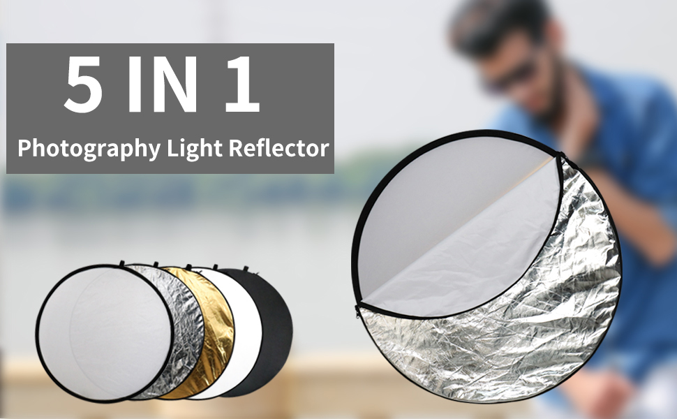 Issuntex 24 Inch(60cm) Photography Reflector Photo Video Studio Multi Collapsible Disc 5-in-1 Lighting Reflector