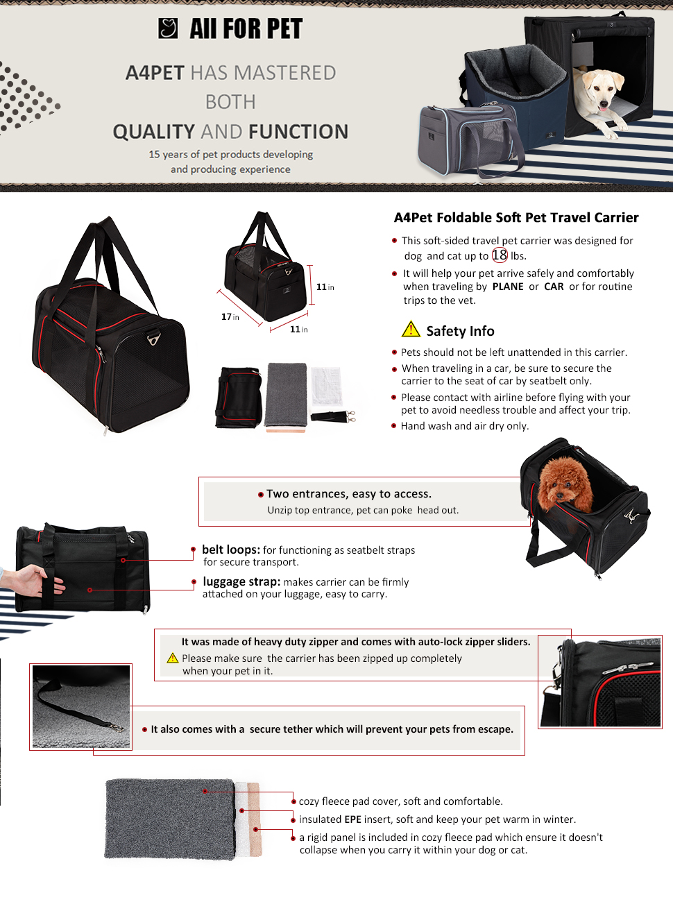Collapsible Pet Travel Carrier, Review of A4Pet Collapsible Pet Travel Carrier for Medium Cat and Puppy