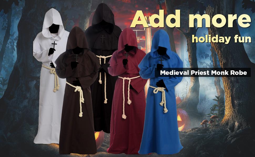 Amazon.com: Cos2be Medieval Priest Monk - Gorro con capucha ...