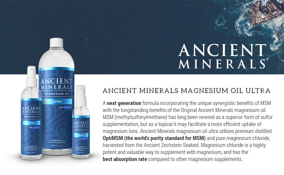 Ancient Minerals Magnesium Oil Ultra with OptiMSM 8 oz  - Pure Genuine  Zechstein Magnesium Chloride Supplement with MSM - Best Topical Skin