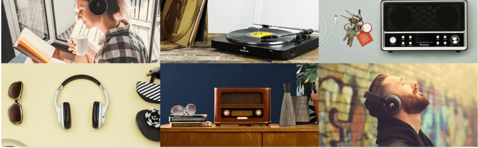 auna Jerry Lee • Record Player • Retro Design • Turntable • Phonograph • Belt-Drive • Stereo Speaker • USB-Port • Vinyl LP • Carrying Strap • ...