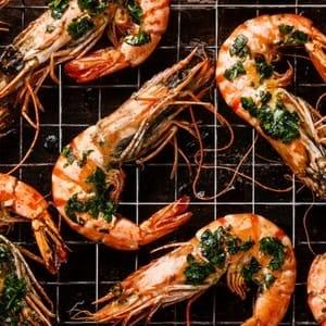 crisper tray grilled shrimp prawns fish
