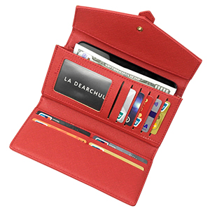 LA DEARCHUU Rfid Blocking Credit Card Holder 12 Slot Rfid Wallet Genuine Leather