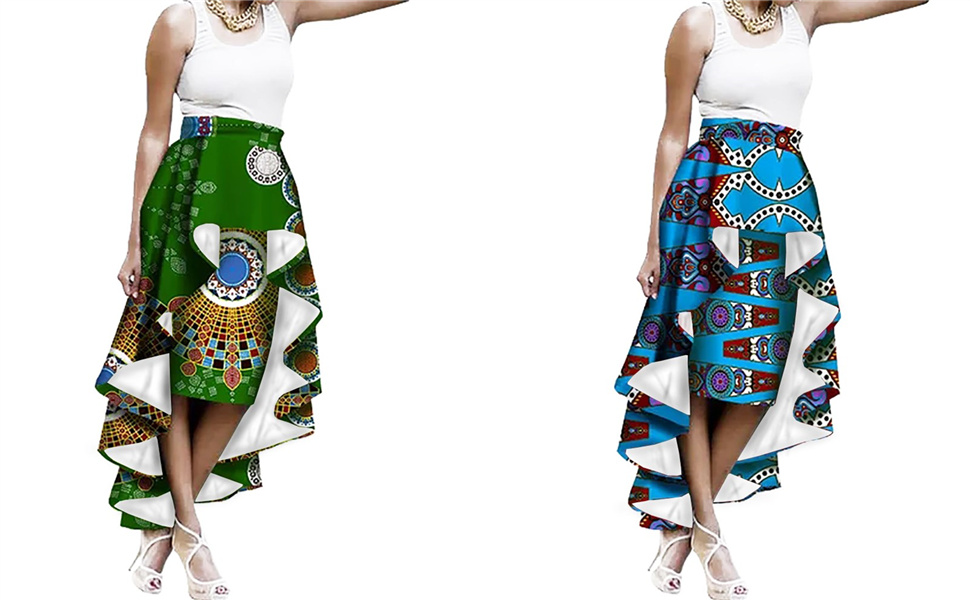 a07b8625658 Sherrylily Womens Plus Size African Print Ruffles High Low Hem A ...