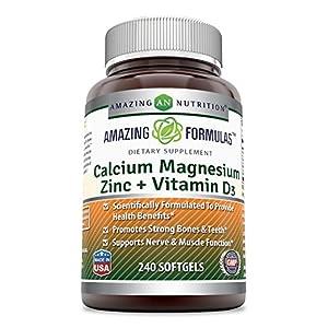 AMAZING FORMULAS CALCIUM MAGNESIUM ZINC + VITAMIN D3 240 SOFTGELS