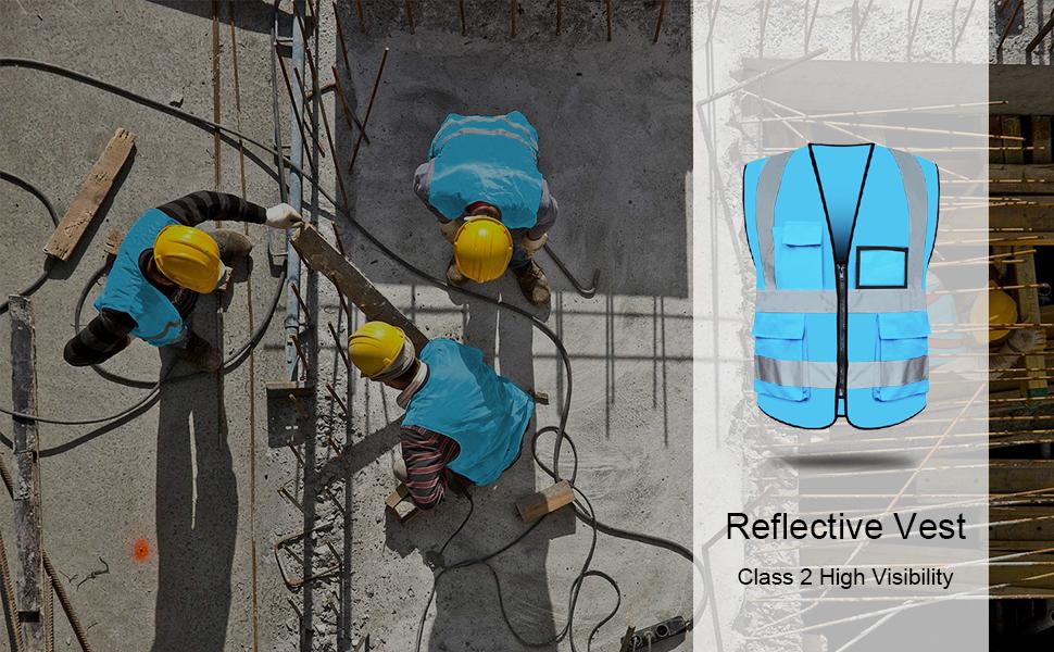 reflective vest safety vest high visibility blue XXL XL red yellow green pocket zipper men women