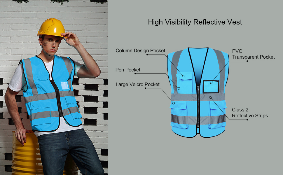 Safety Vest reflective vest with pockets high visiblity fluorescent yellow blue green red men women