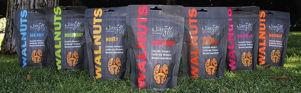 The Nutty Gourmet Walnuts Sea Salt Rosemary Honey Habanero Maple Cinnamon Chipotle Buffalo