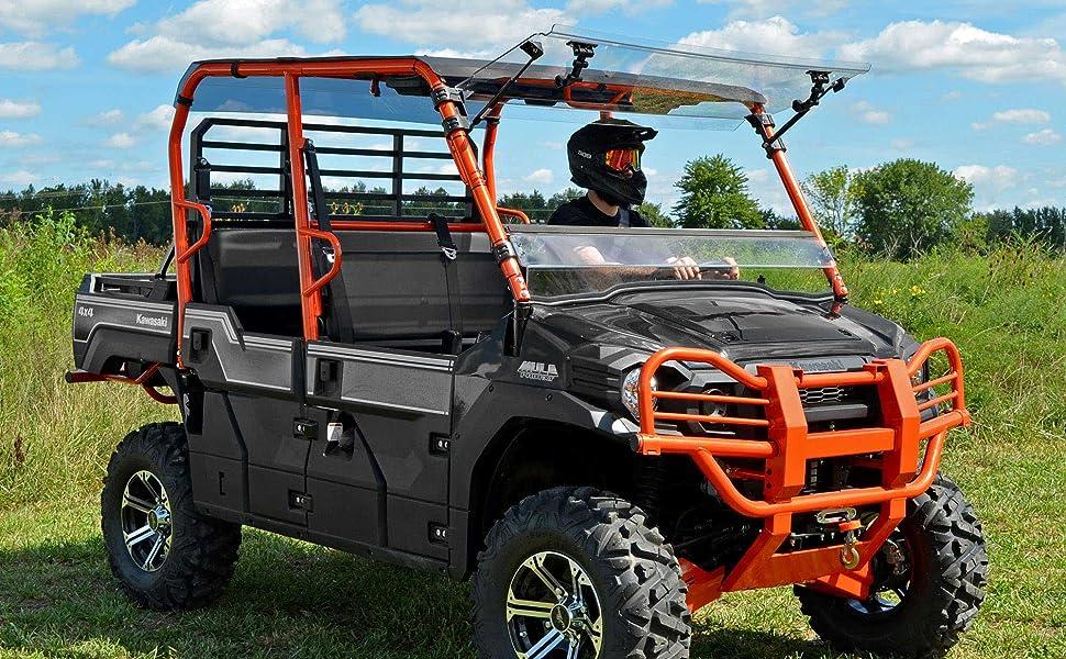 kawasaki mule pro with flip windshield installed