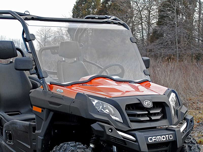 SuperATV Heavy Duty Scratch Resistant Full Windshield for CFMOTO UForce 800 (2014+) - Hard Coated for Extreme Durability - Installs in 5 Minutes!