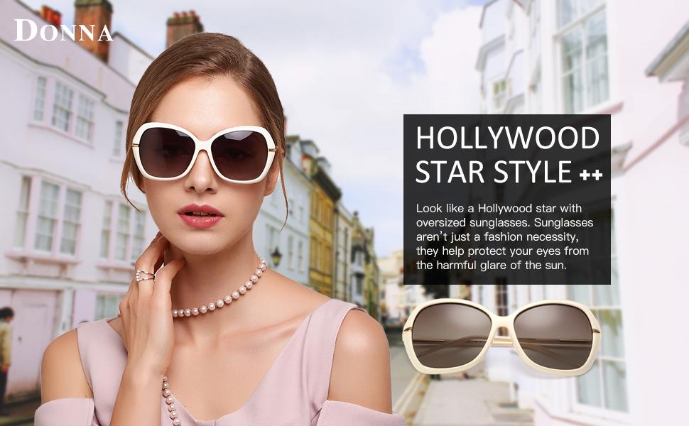 4468f1bbb4 Amazon.com  DONNA Women s Classic Oversized Polarized Sunglasses ...