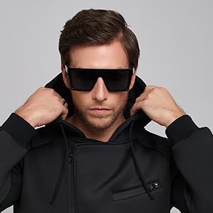 75c00049555 Amazon.com  DONNA Cool Unisex Oversized Flat Top Sunglasses Square ...