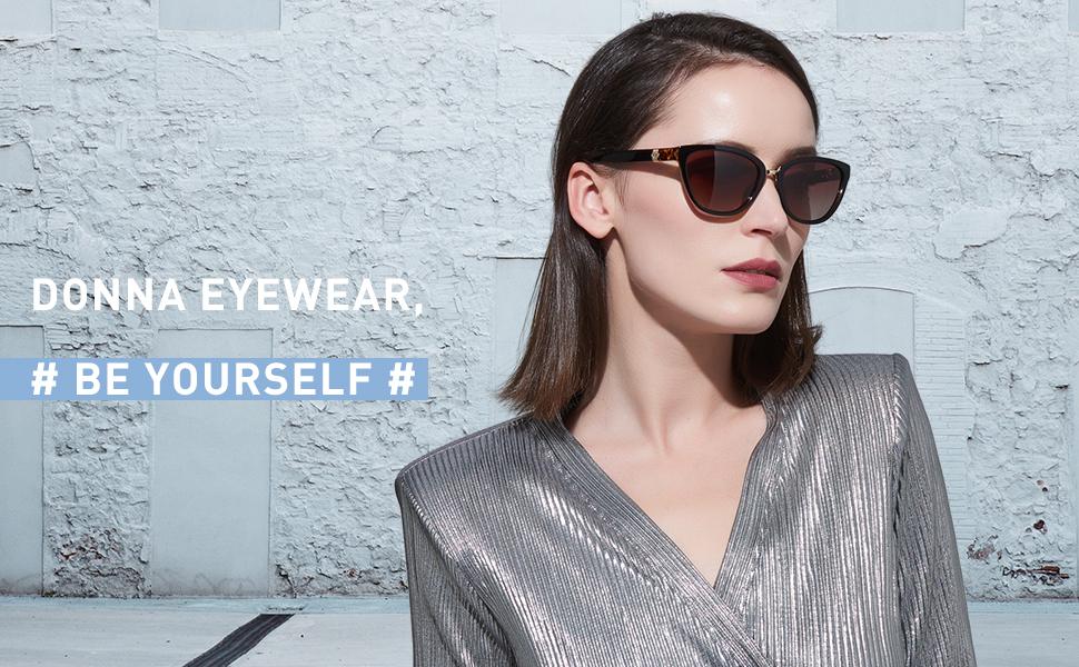 DONNA Women's Vintage Polarized Cat Eye Sunglasses Oversized Trendy  Celebrity Style D64