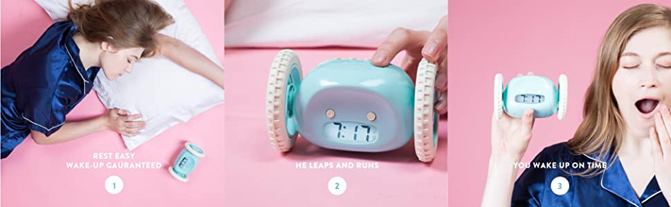 alarm-clock heavy-sleeper loud run roll hide leap jump wheel pink blue rest get-up wake time coffee