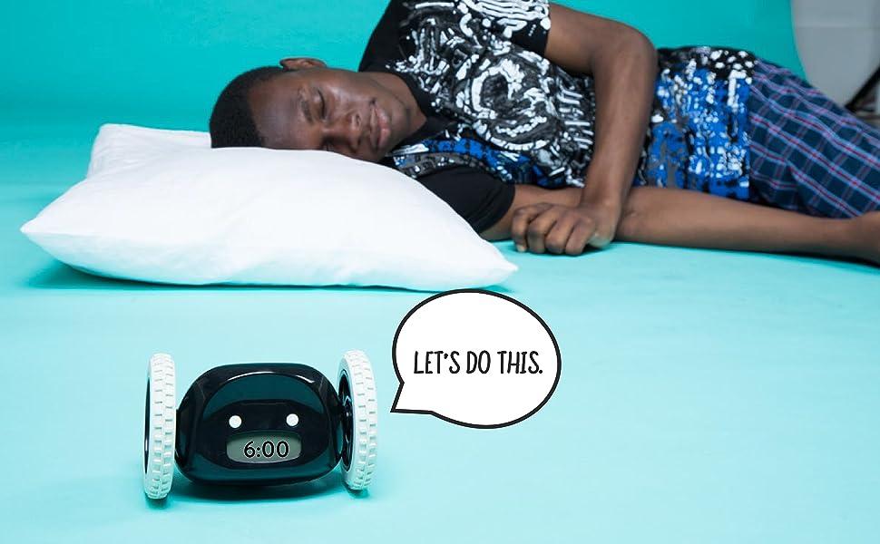 clocky alarm-clock wheel roll run jump hide heavy-sleeper rest wake-up