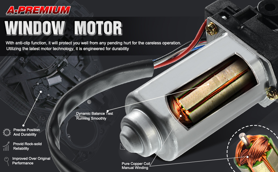 A-Premium Power Window Lift Motor for BMW E39 525i 528i 530i 540i M5 Z8 Front Passenger or Rear Driver Mini Cooper 2002-2005 Front Driver Side