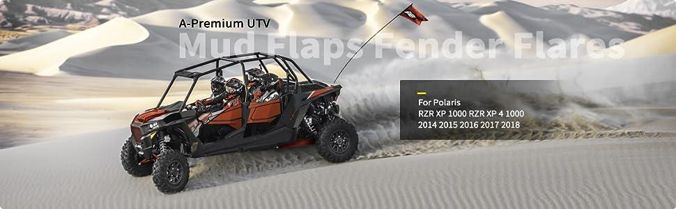 A-Premium UTV Mud Flaps Fender Flares for 2014-2018 Polaris RZR XP 1000 XP 4 1000 Turbo Front and Rear 4-PC Set