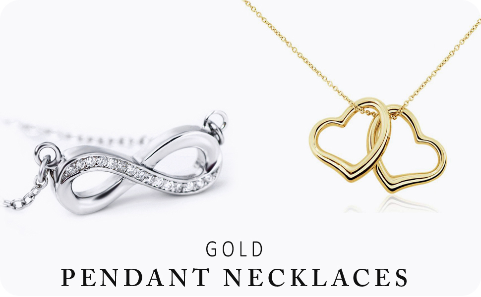 gold heart and pendant necklaces for women
