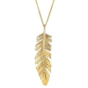 solid gold feather Gold feather necklace 14k gold feather