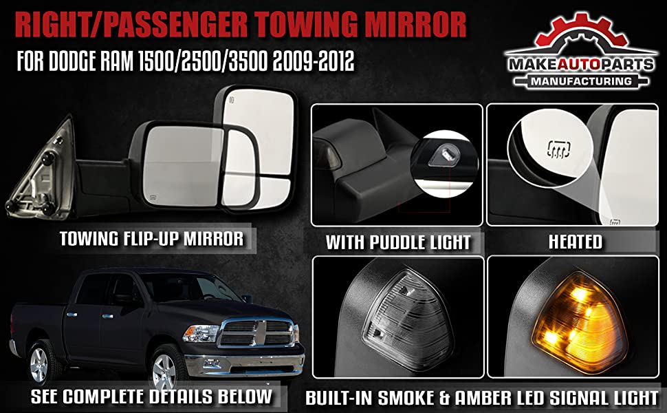 Right//Passenger Side Power Operated Heated LED Signal Towing Mirror Textured Black For Dodge Ram /& Ram 1500//2500 CH1321315 3500 2009-2012 Make Auto Parts Manufacturing