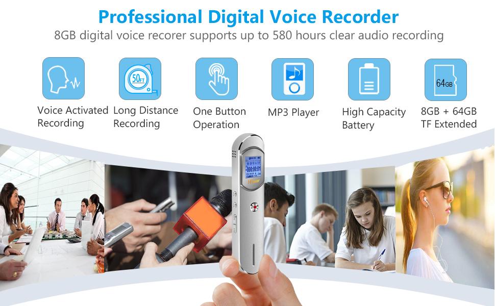 Amazon.com: Grabadora de voz, 16 GB (64 GB extendido ...