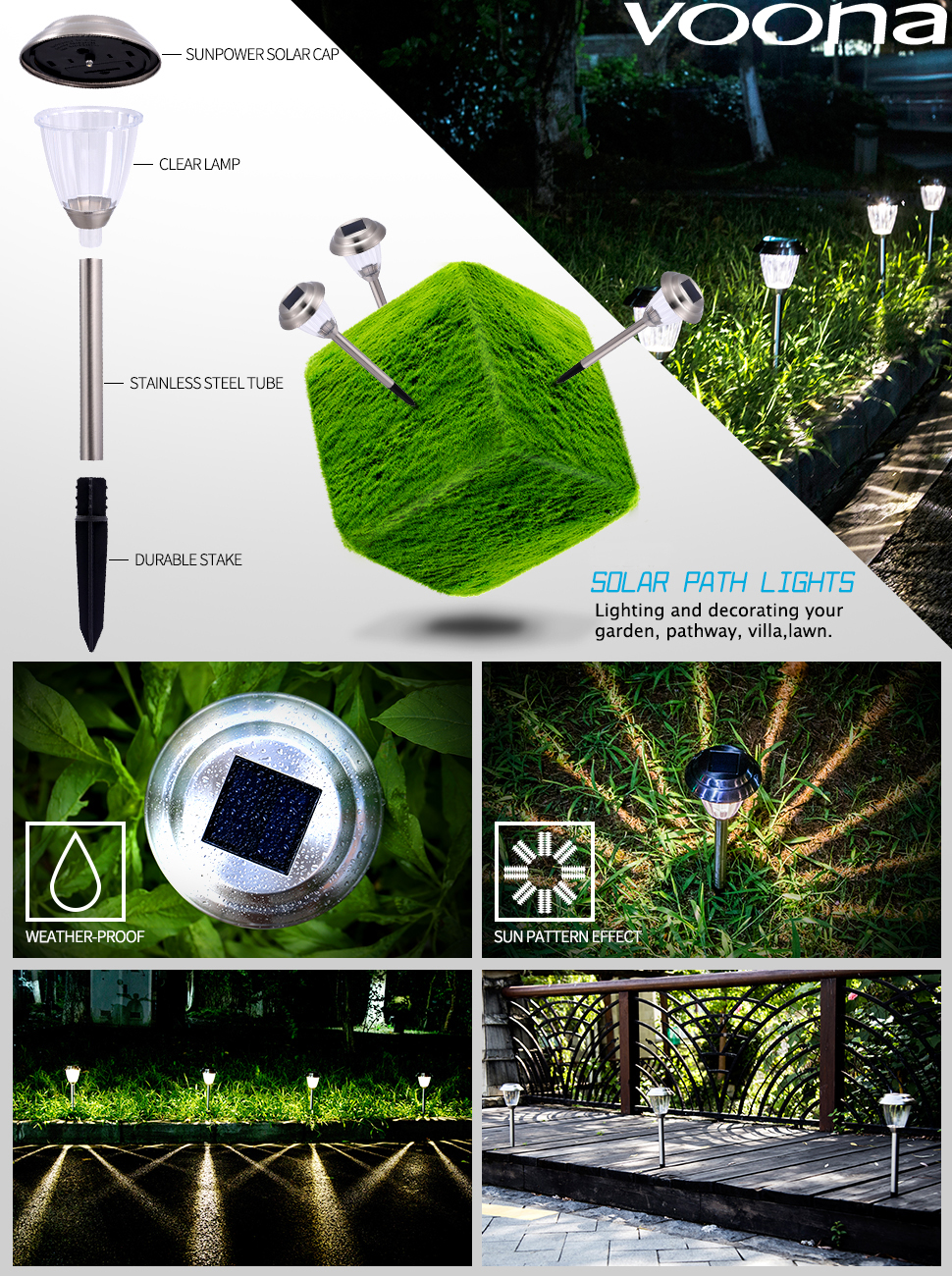 product description voona park skujjbh0003 8pack solar lights stainless steel led pathway landscape lights - Path Lights