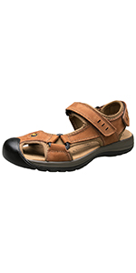 3322ea84c5241 Amazon.com | AGOWOO Womens Leather Ankle Strap Beach Hiking Sandals ...