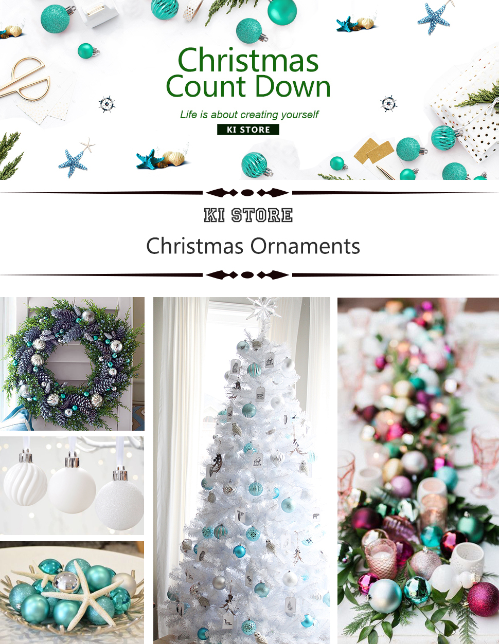 Amazon.com: KI Store 34ct Christmas Ball Ornaments Shatterproof ...
