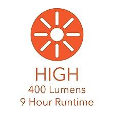 400 LUMENS 9 HOUR RUN TIME ON HIGH MODE