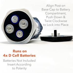 4 d cell alkaline batteries run camping lantern