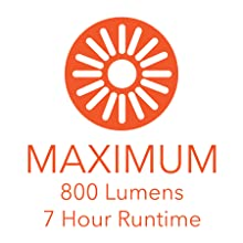 800 LUMENS 7 HOUR RUN TIME ON MAXIMUM MODE