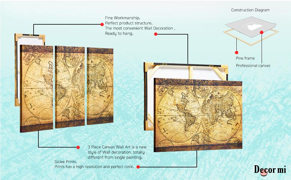 Amazon.com: Decor MI Vintage World Map Canvas Wall Art Prints ...