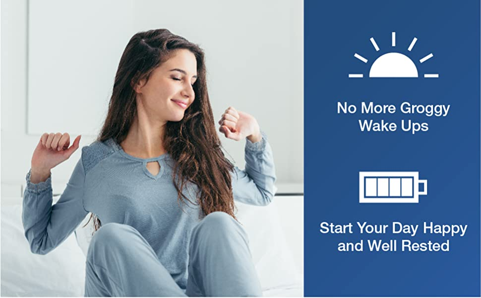No more groggy wake ups. Start your day happy and well rested.