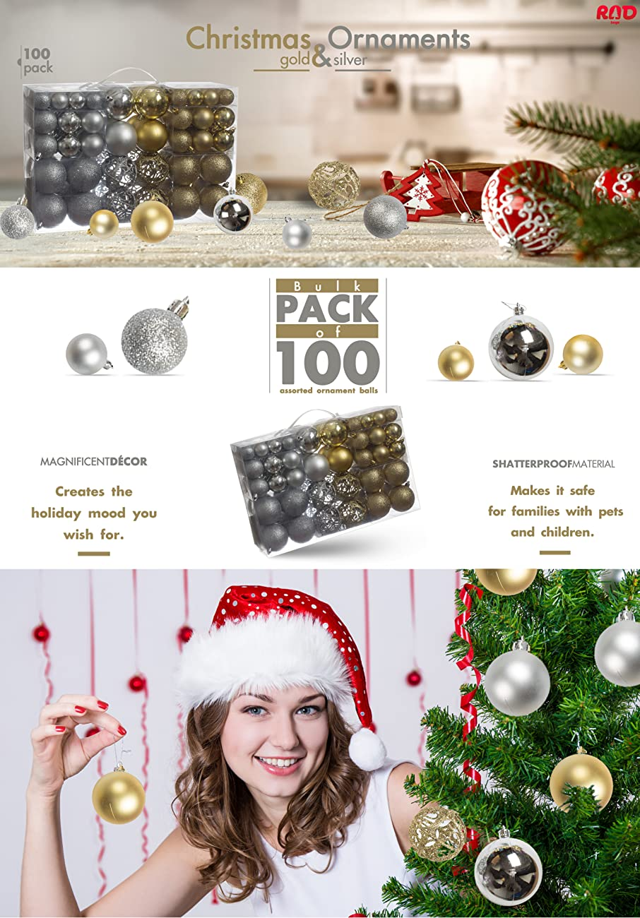 Amazon.com: 100 Gold And Silver Christmas Ornament Balls ...