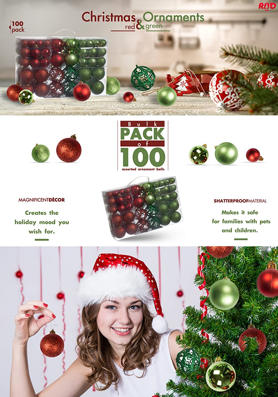 Amazon.com: 100 Red and Green Christmas Ornament Balls Shatterproof ...