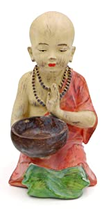 Garden Monk Statue with Alms Bowl
