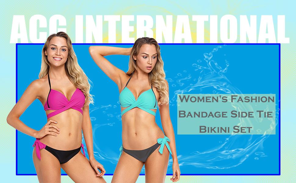 d1f082bbf8783 Amazon.com  ACHICGIRL Women s Fashion Bandage Side Tie Bikini Set ...