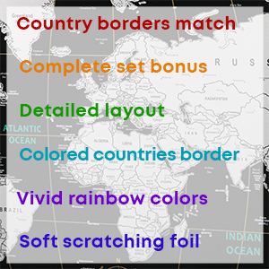 Scratch Off Map of The World in Rainbow Colors with USA Labeled and Accessories| Detailed World Map| Simple to Use for Everyone, Elderly and Kids| ...
