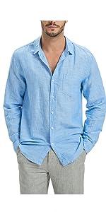 Najia Symbol Mens 100/% Natural Linen Fabric Button Down Long Sleeve Shirt