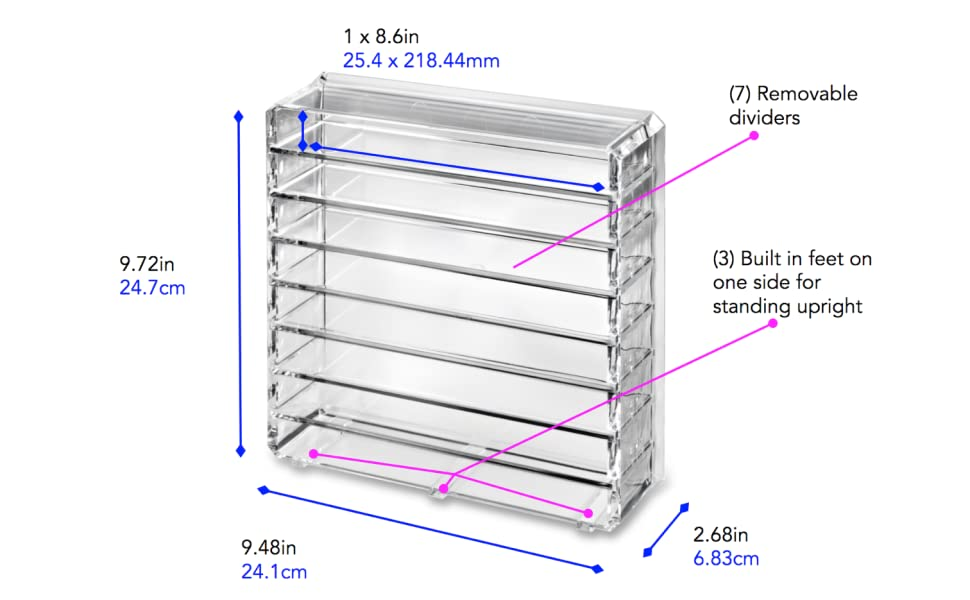 BYALEGORY CLEAR ACRYLIC MAKEUP PALETTE ORGANIZER DIMENSIONS