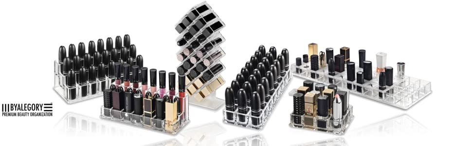 CLEAR LIP BEAUTY MAKEUP PRODUCT ORGANIZING COLLECTION FOR STORING LIPSTICK LIP BALM LIP GLOSS