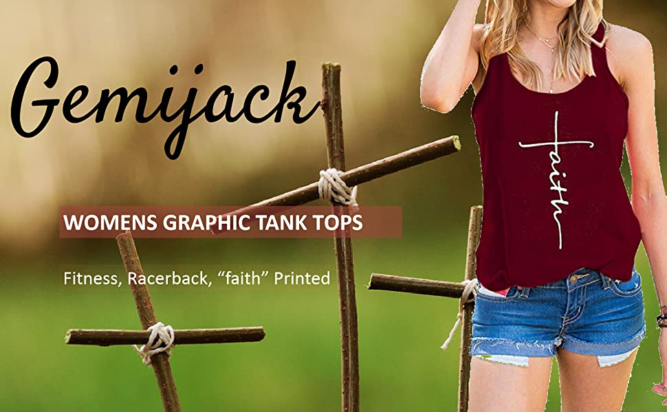d57220fd67a778 Gemijack Womens Summer Racerback Tank Tops Workout Loose Fit Graphic  Sleeveless Tees Shirts
