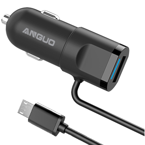 Car Charger, ANGUO 4.8A Rapid USB Car Charger Adapter 24W with Micro USB Cable for iPhone Xs, XS MAX, XR, X, 8, 8Plus, 7, Samsung Galaxy S9 S8 ...